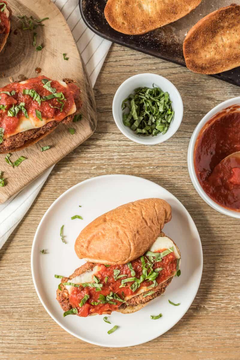 overhead image of chicken parmesan sandwich