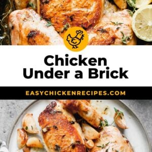 chicken under a brick pinterest collage