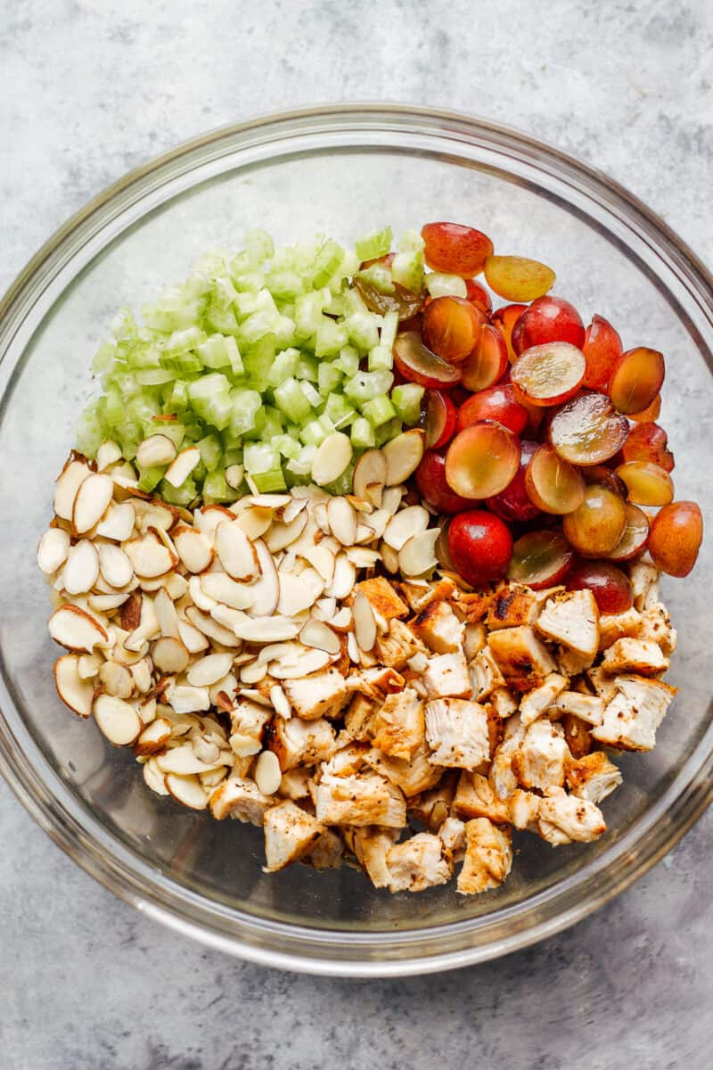 ingredients for napa almond chicken salad