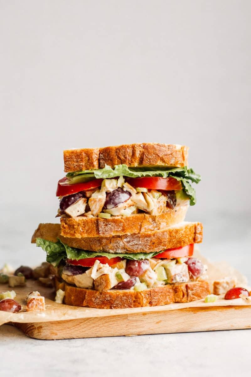 two napa almond chicken salad sandwiches