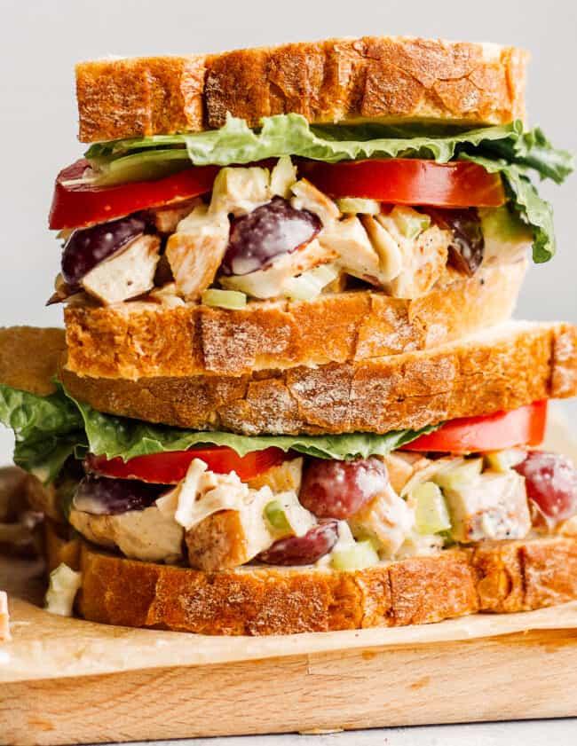 up close image of panera napa almond chicken salad sandwiches