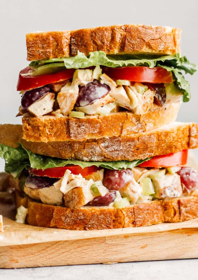 up close image of panera napa almond chicken salad sandwiches