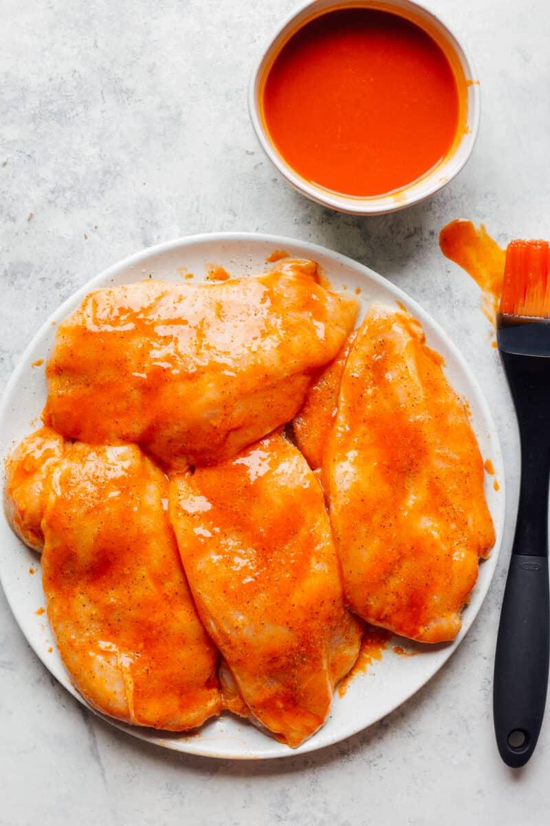 chicken breasts marinated in buffalo sauce