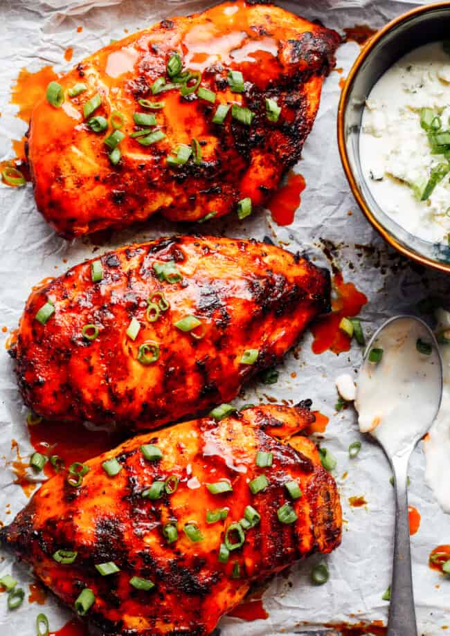up close image of grilled buffalo chicken breasts