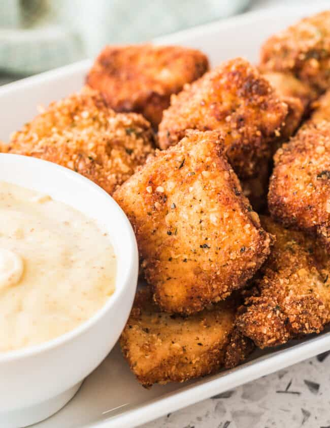 homemade chicken nuggets with honey mustard dipping sauce