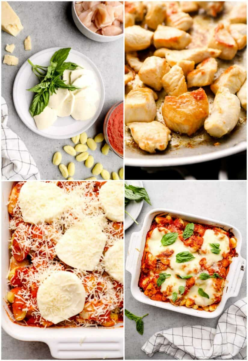 step by step photos of how to make chicken parmesan gnocchi casserole