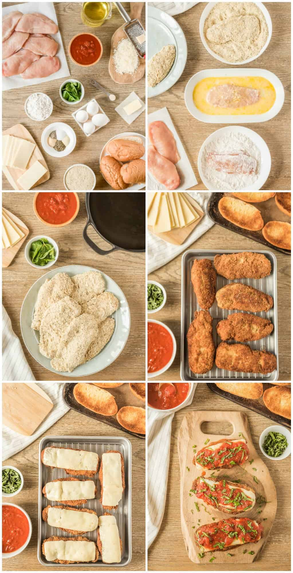 step by step photos of how to make chicken parmesan sandwiches
