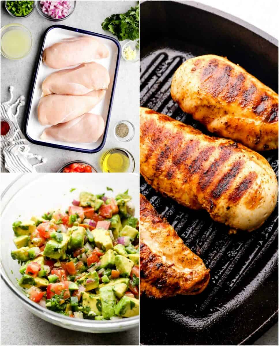step by step photos of how to make chicken with avocado salsa