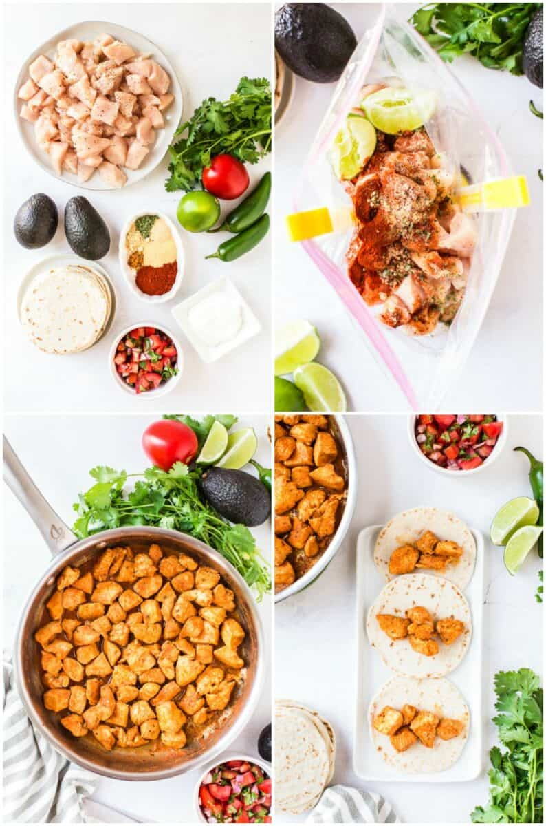 step by step photos of how to make soft chicken tacos