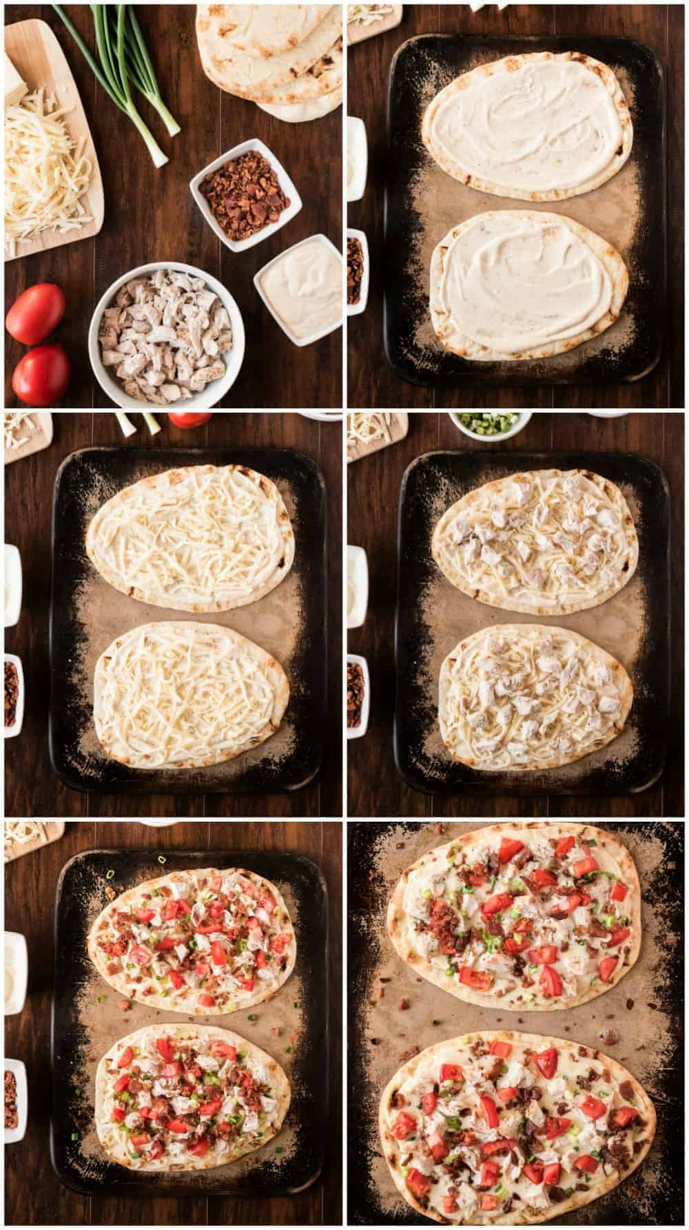 step by step photos of how to make white chicken pizza