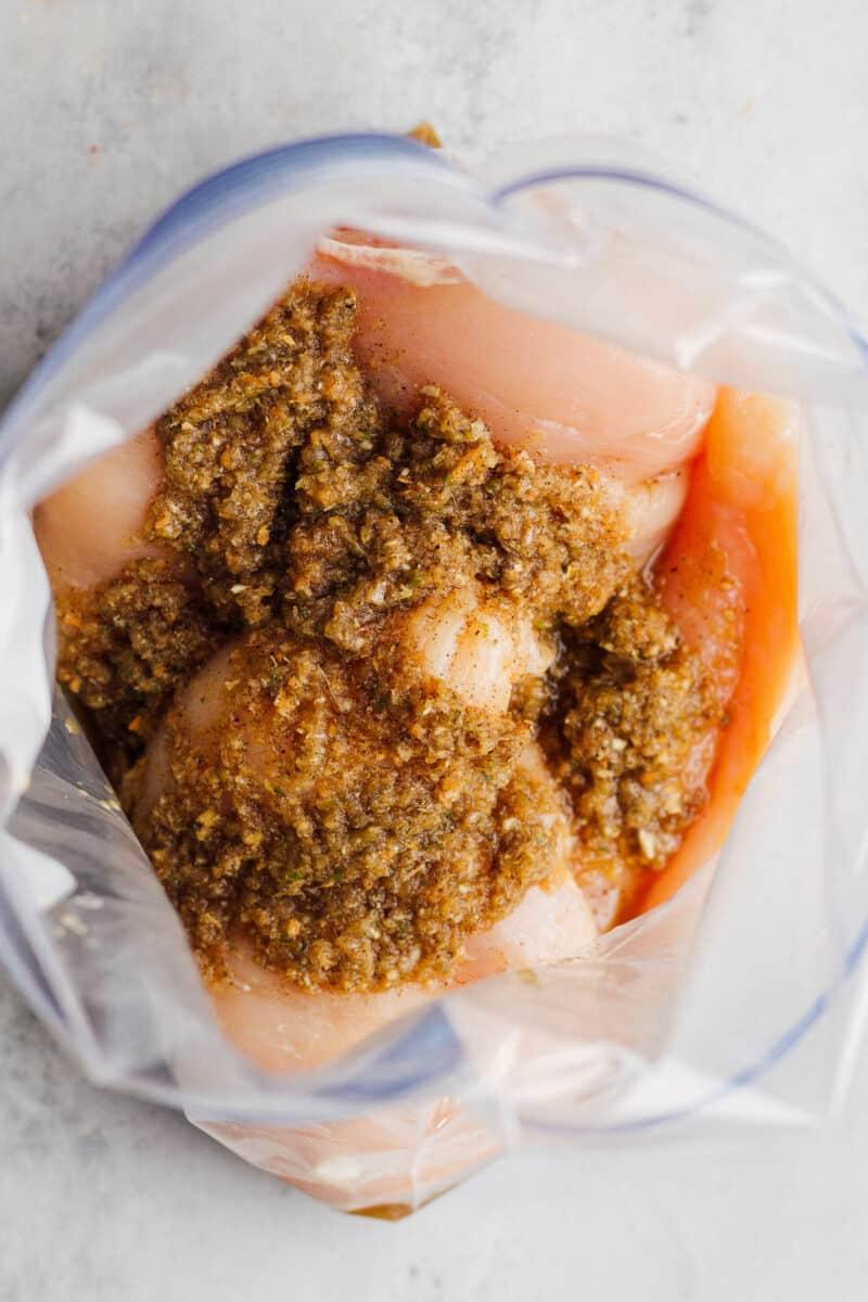 chicken in jerk marinade in ziplock bag