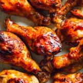 instant pot bbq chicken drumsticks on platter