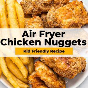 air fryer chicken nuggets pinterest collage