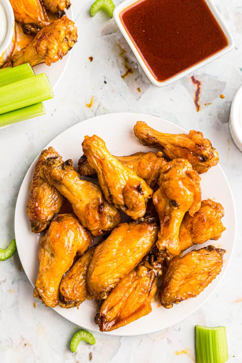 air fryer chicken wings on white plate