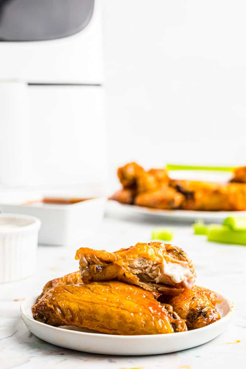 air fryer chicken wings on plate