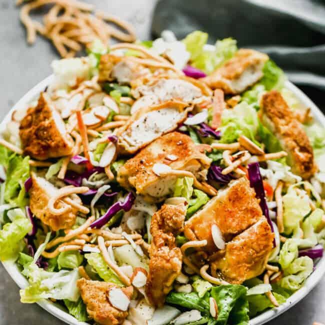 side shot of Oriental Chicken Salad in bowl