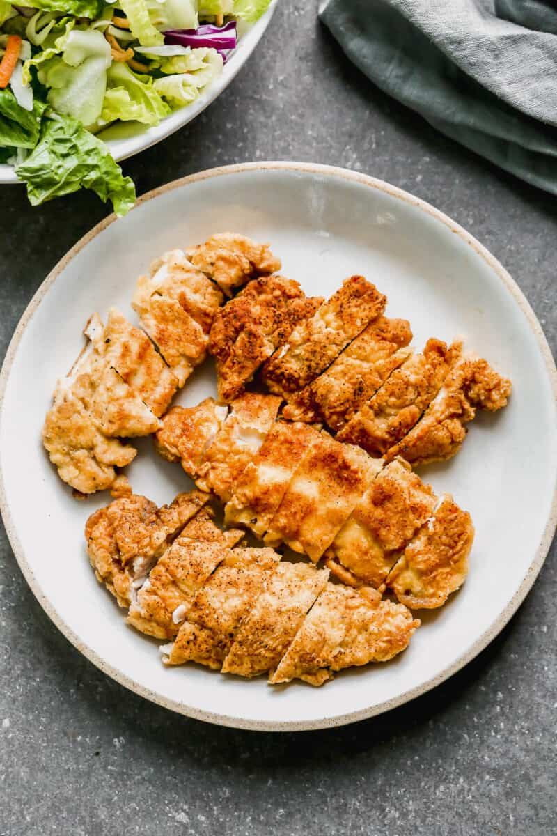 fried chicken tenders sliced