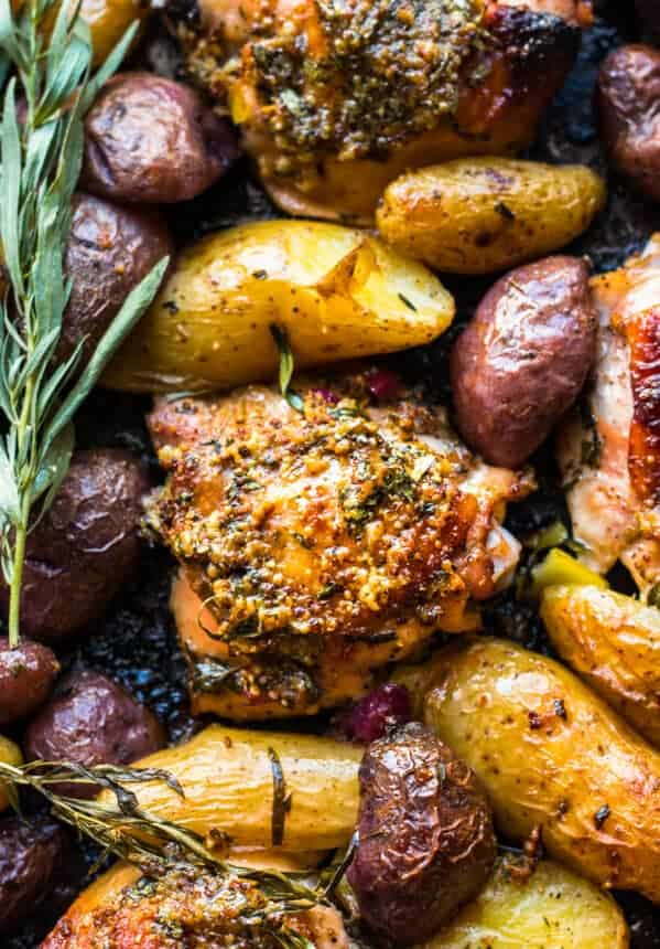 baked honey mustard chicken thighs with potatoes