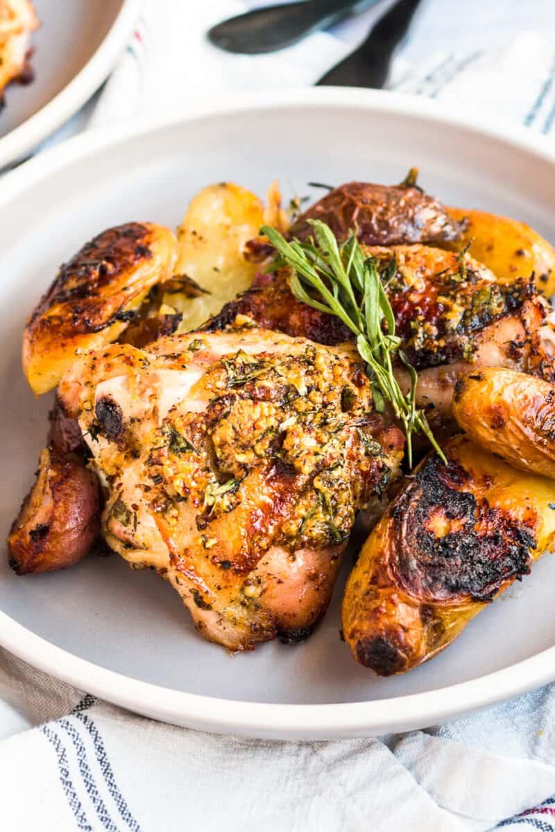 honey mustard chicken and potatoes on plate