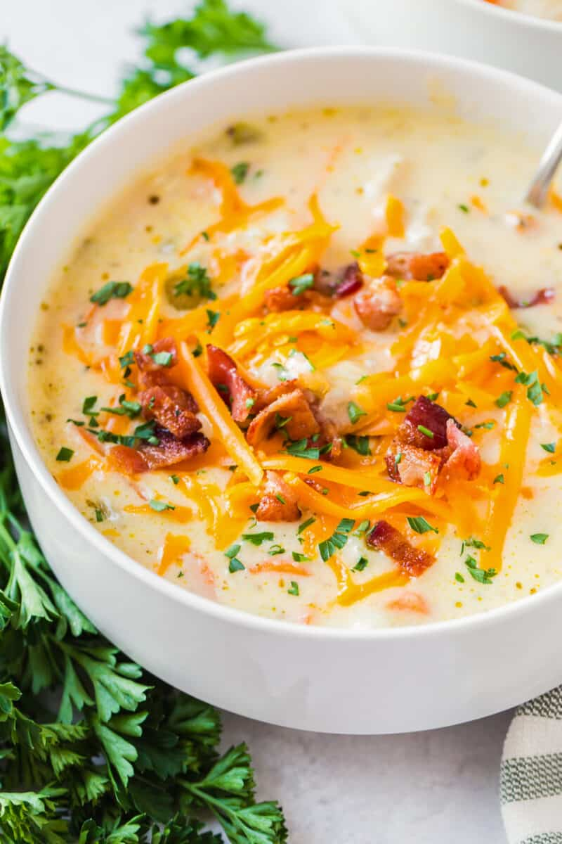 side image of chicken chowder with bacon and cheese