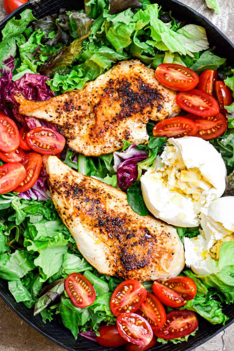 chicken breasts over green salad with burrata