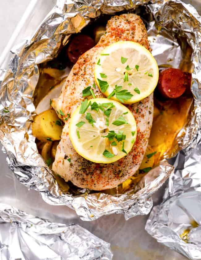 baked lemon foil packet on sheet pan