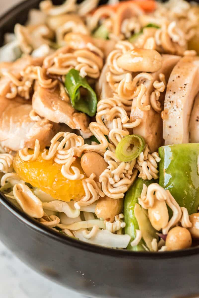 up close image of chinese chicken salad