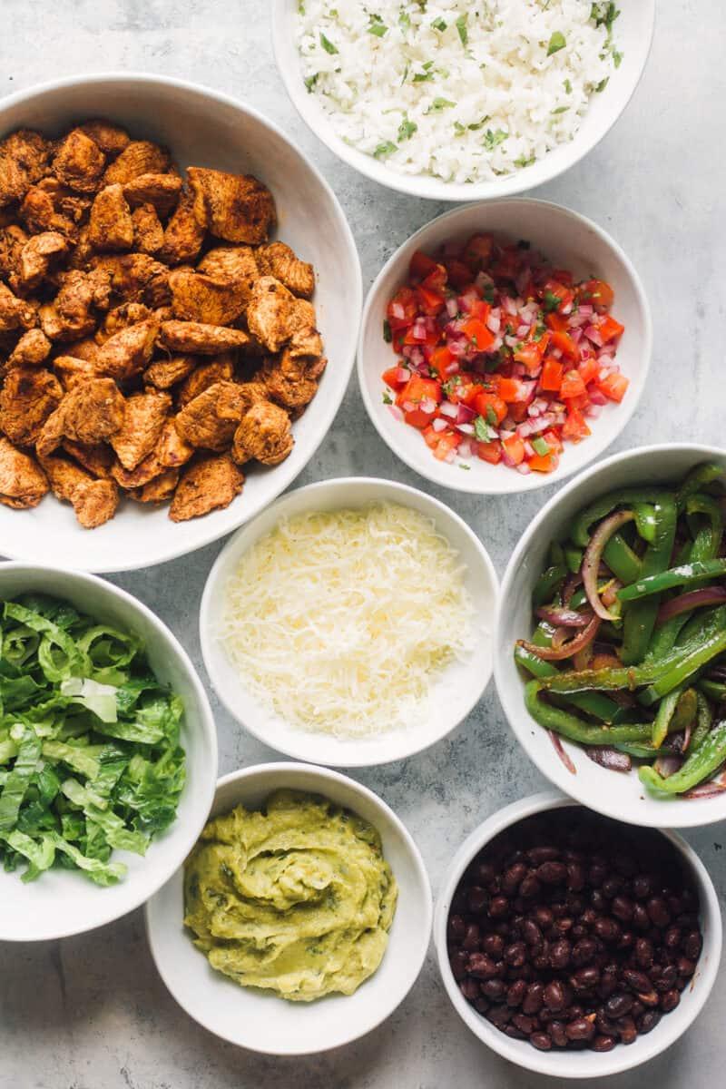 ingredients to make chipotle chicken burritos