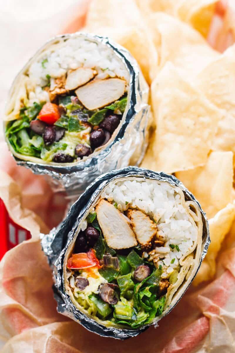copycat chipotle chicken burrito cut in half
