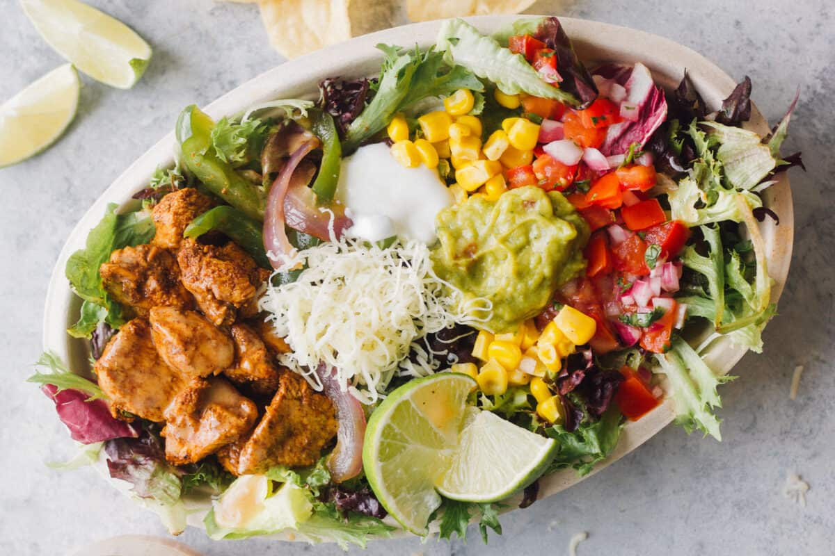 mexican chicken salad in bowl