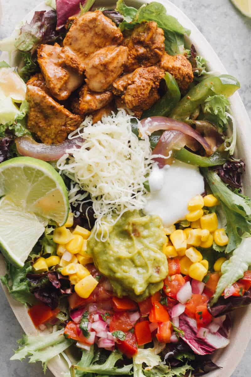 up close image of chipotle chicken salad in bowl