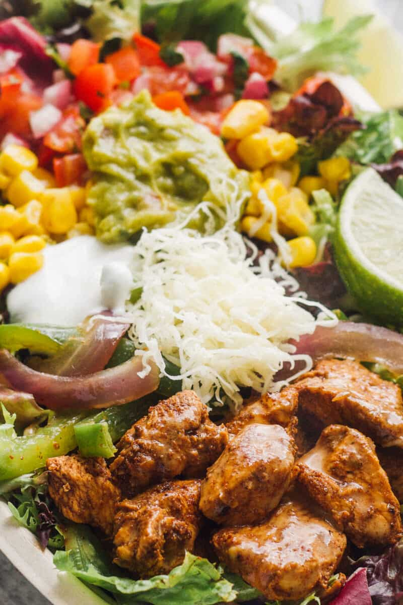 up close image of chipotle chicken salad