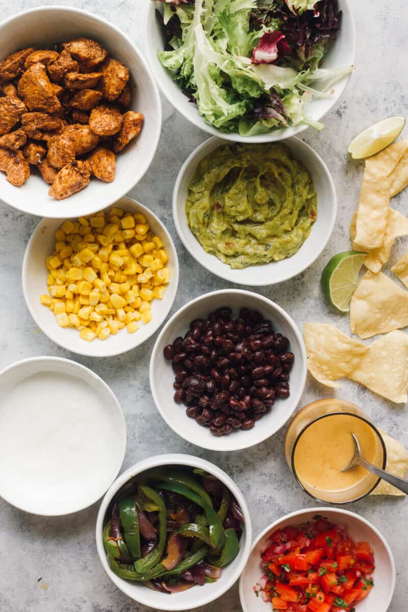 ingredients for making chipotle mexican chicken salad