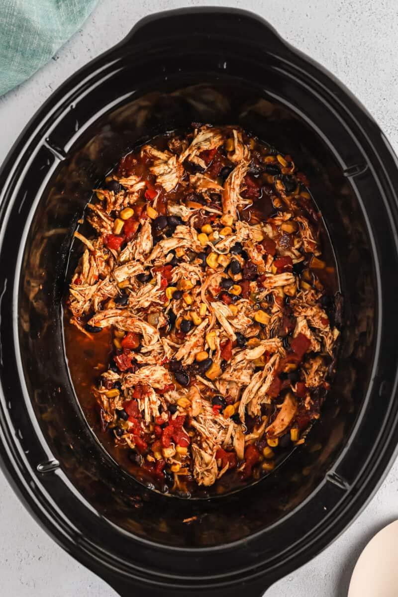 crockpot shredded mexican chicken in crockpot