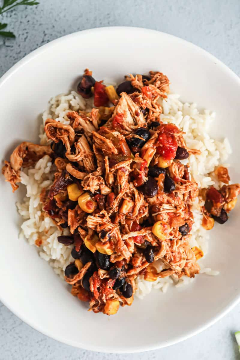 crockpot shredded mexican chicken over rice