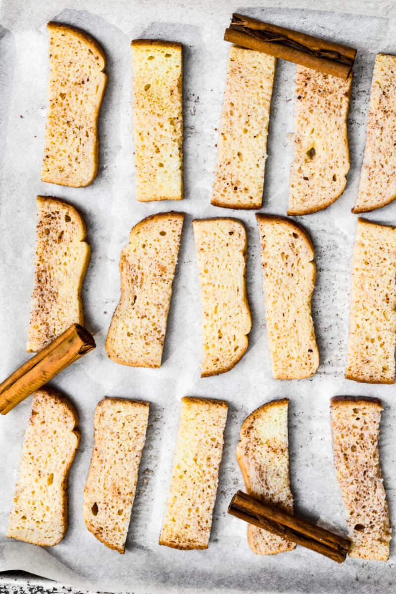 prepping french toast sticks on sheet pan