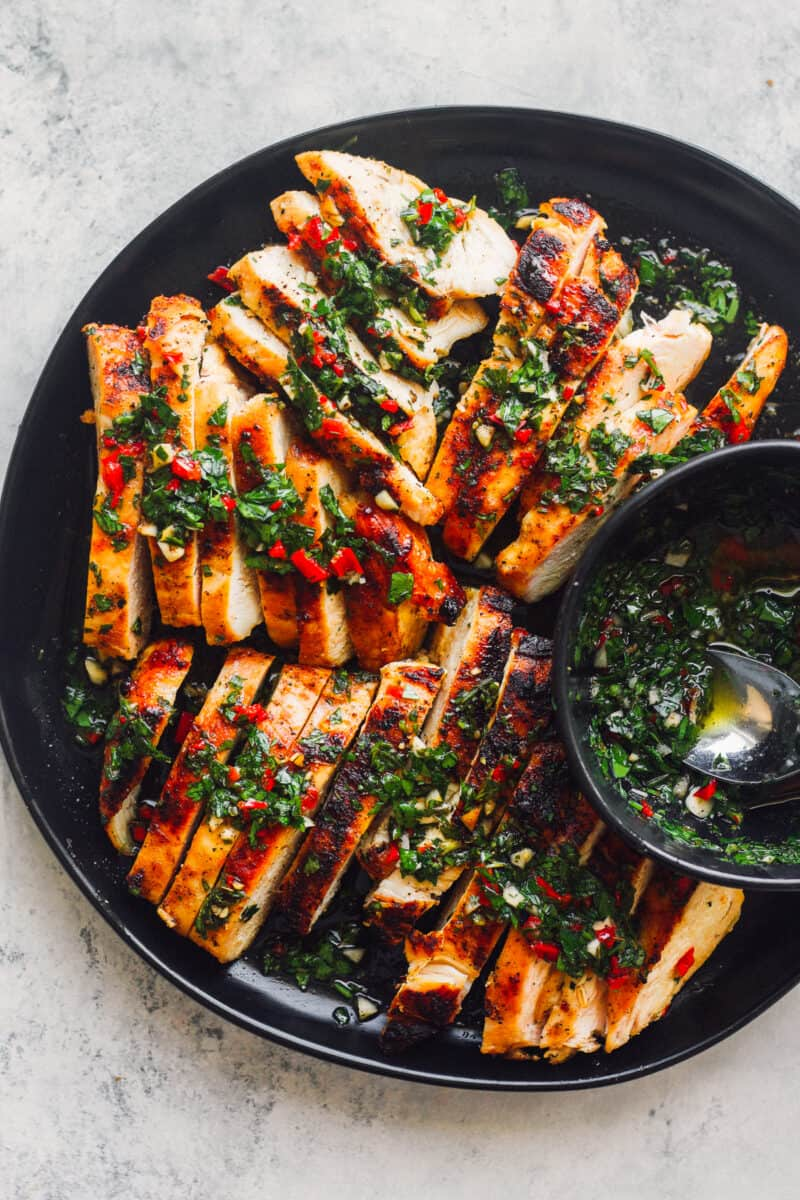 sliced chimichurri chicken breasts