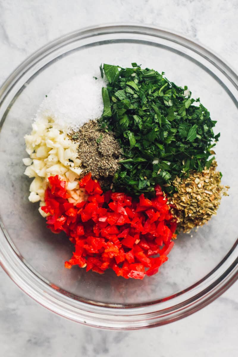 ingredients for making chimichurri