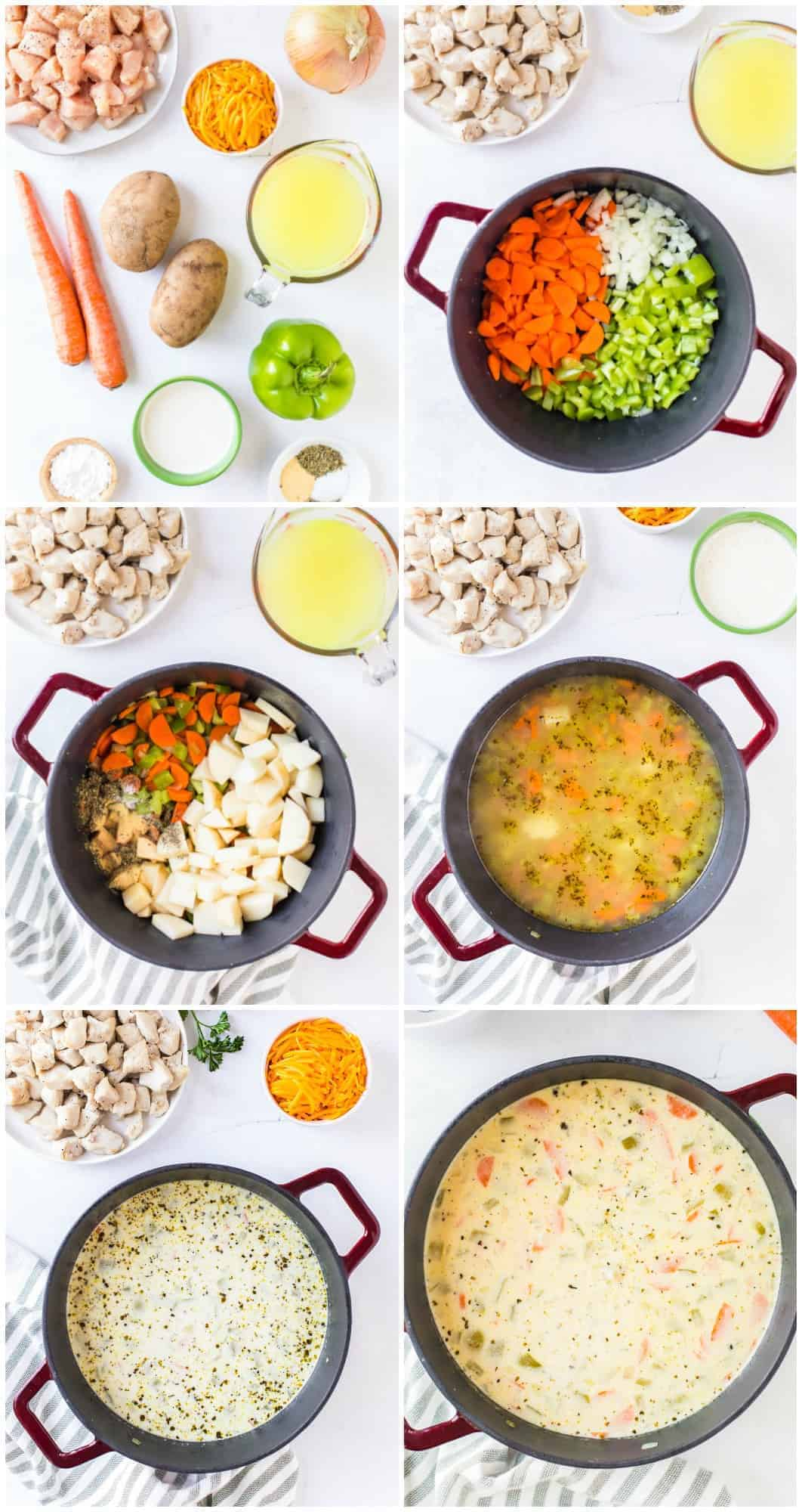 step by step photos of how to make cheesy chicken chowder