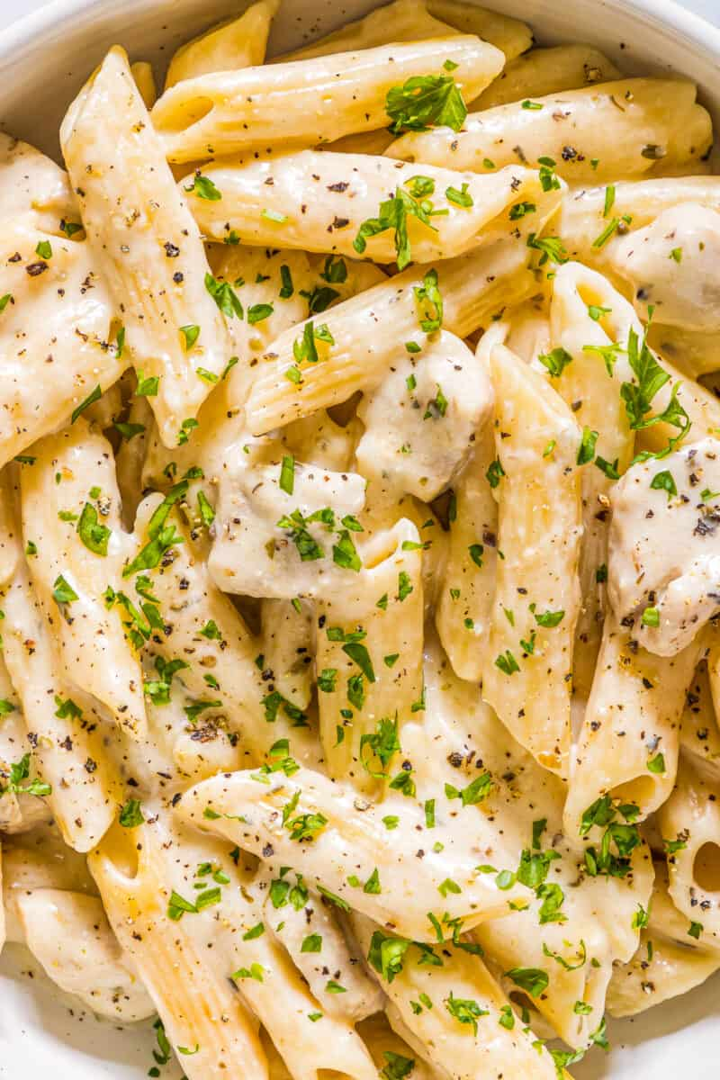 up close image of instant pot cheesy chicken pasta