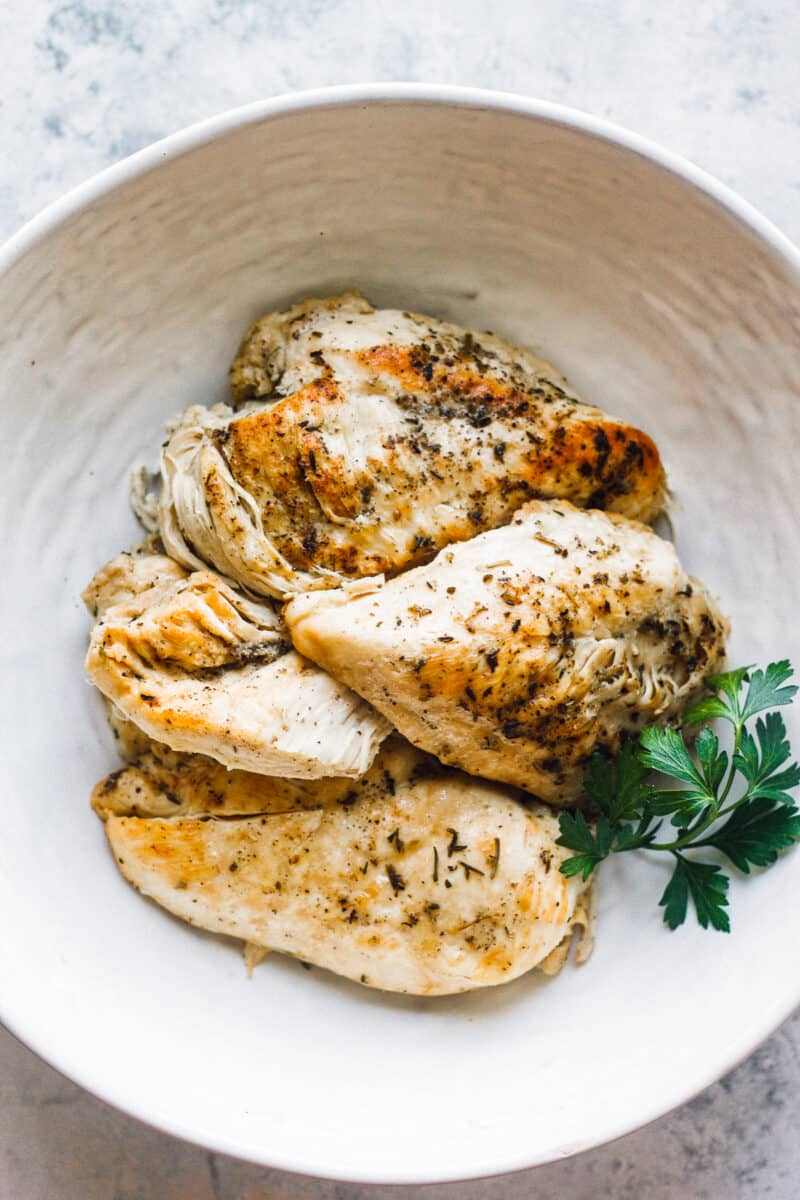 instant pot chicken breasts in bowl