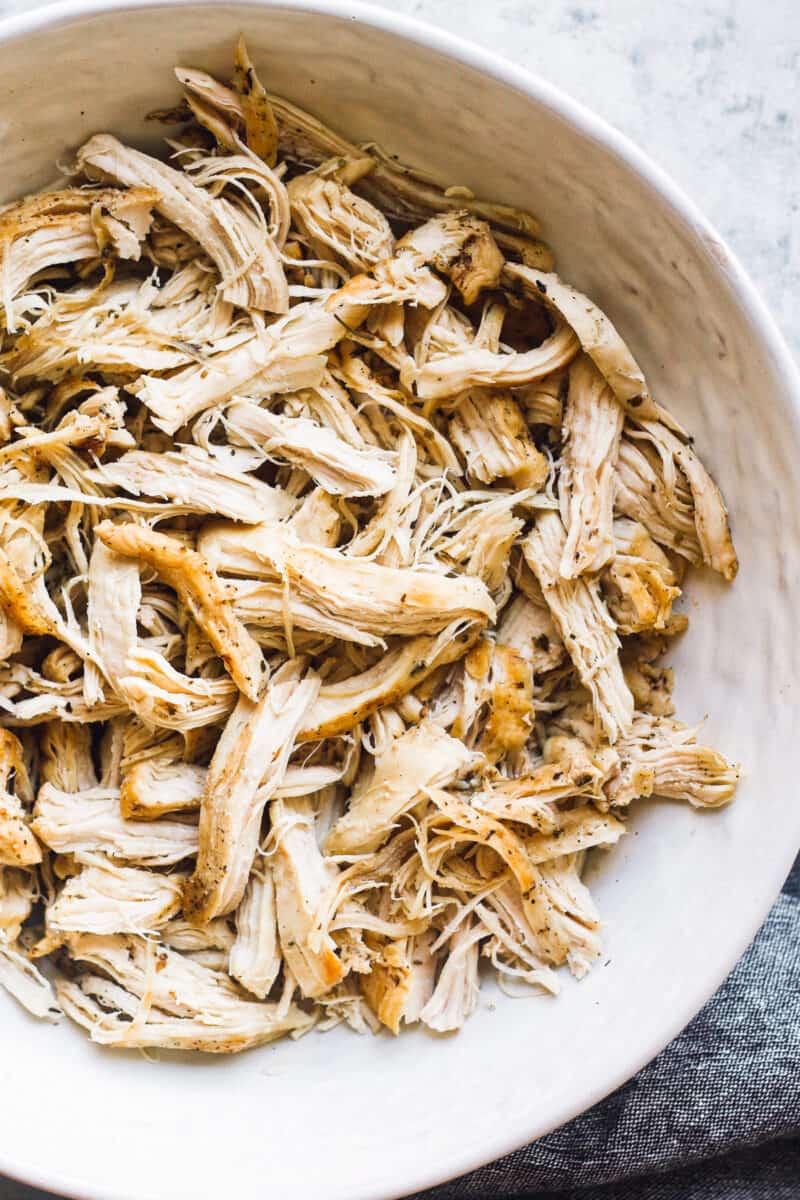 shredded chicken breast in bowl