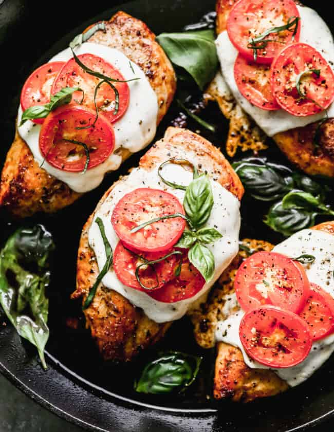 margherita chicken in skillet