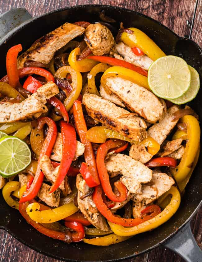 chicken fajitas in skillet