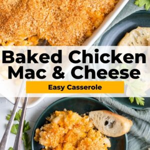 baked chicken mac and cheese pinterest collage