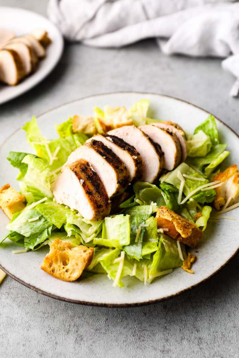 grilled chicken on bed of lettuce