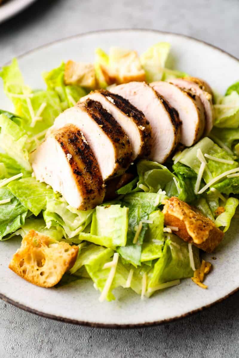 up close image of classic caesar salad