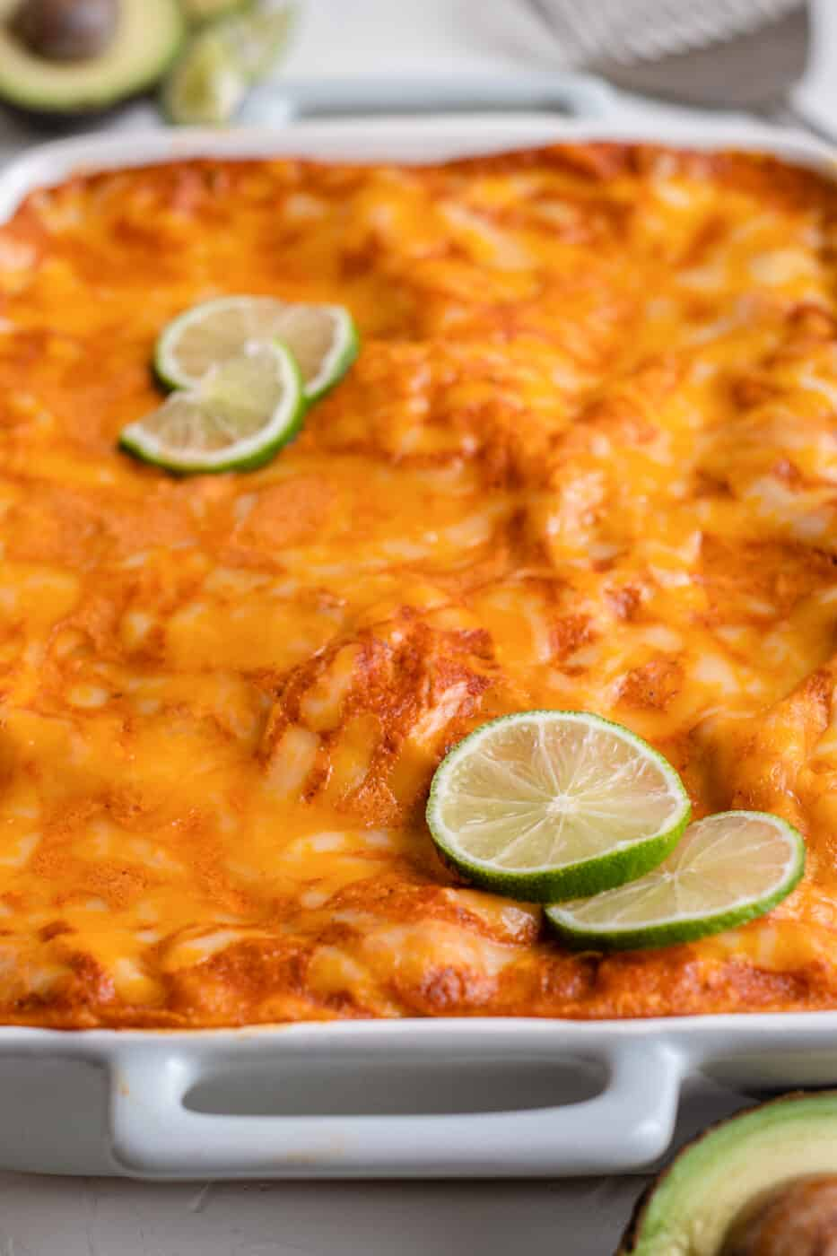 side shot of red chicken enchilada casserole