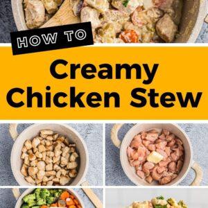 creamy chicken stew pinterest collage