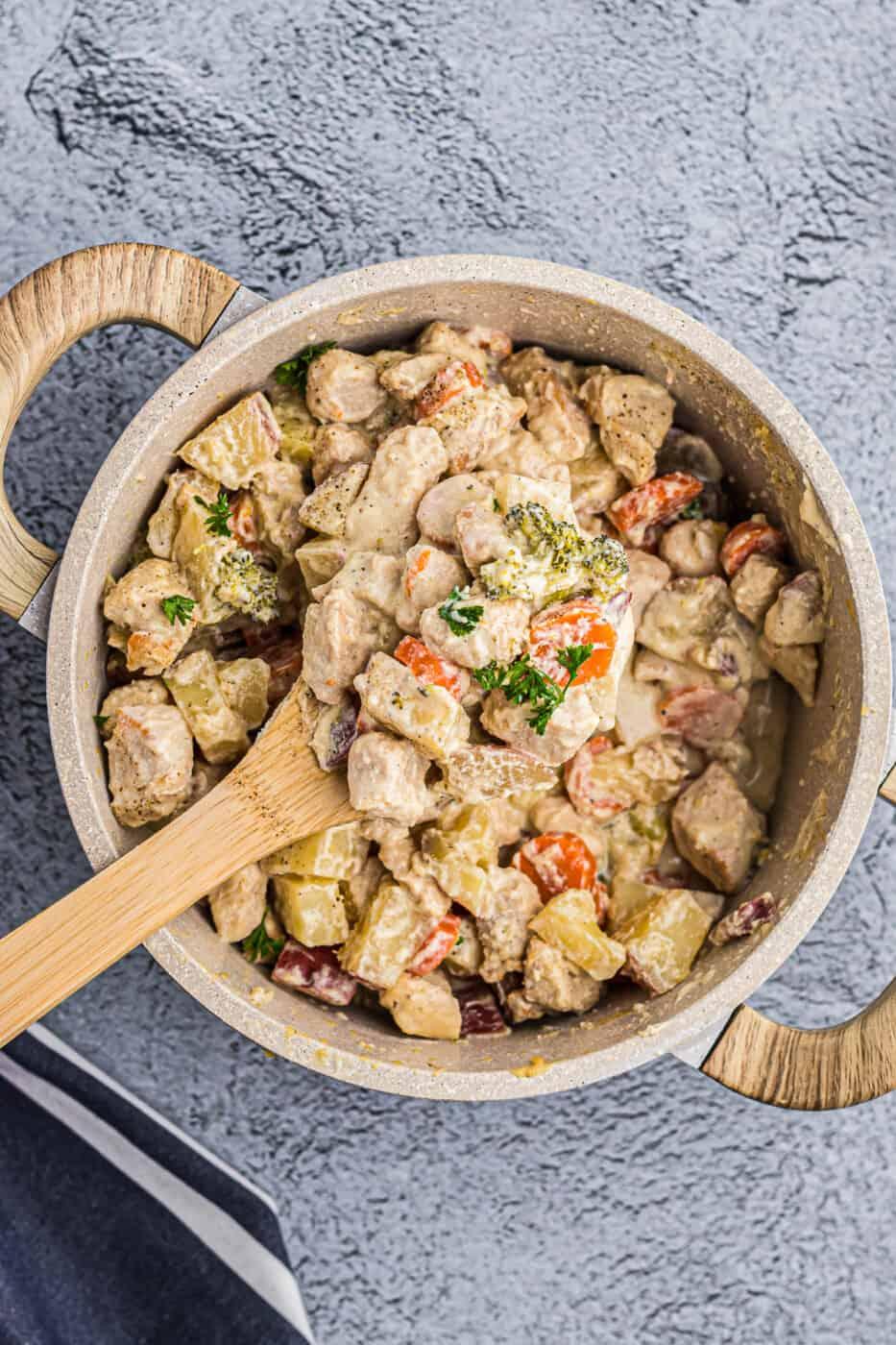 pot of creamy chicken stew